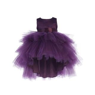 Baby Girls Eggplant Hi-Low Multi Level Ruffle Tutu Flower Girl Dress