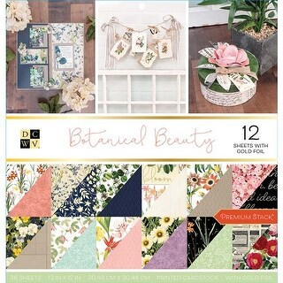 """Botanical Beauty; 18 Designs/2 Each - Dcwv Double-Sided Cardstock Stack 12""""X12"""" 36/Pkg"""