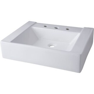 """Mirabelle MIR24198A 24"""" Porcelain Console Bathroom Sink Only with 3 Faucet Holes (8"""" Centers)"""