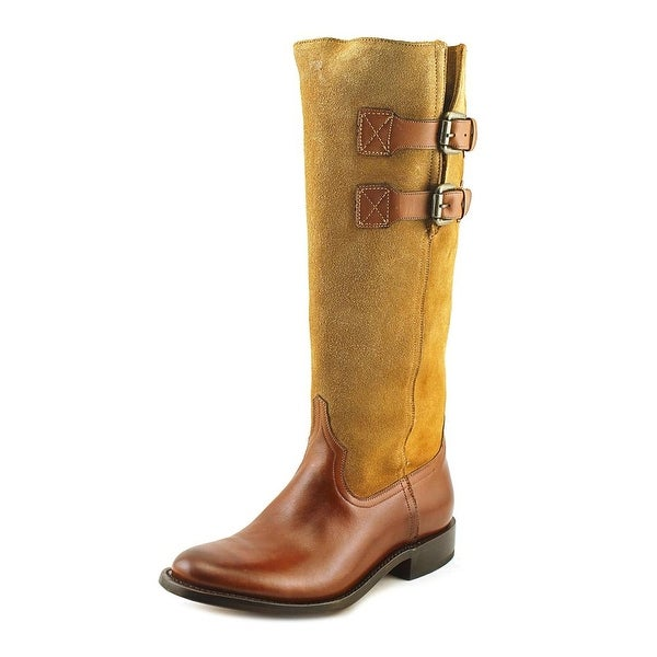 Lucchese Tall Ridin Women Round Toe Suede Tan Western Boot