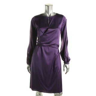 Elie Tahari Womens Mira Silk Long Sleeves Cocktail Dress