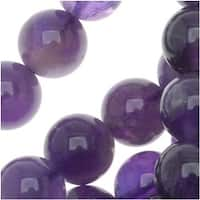 Purple Amethyst Gemstone Beads 8mm Round - 15.5 Inch Strand