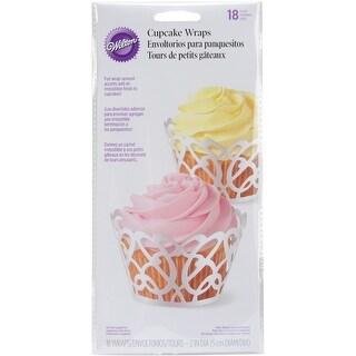 Standard Cupcake Wraps-Pearl White Swirls 18/Pkg - pearl white swirls 18/pkg