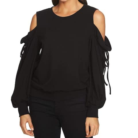 1.State Black Womens XS Drawstring Cold-Shoulder Pullover Sweater