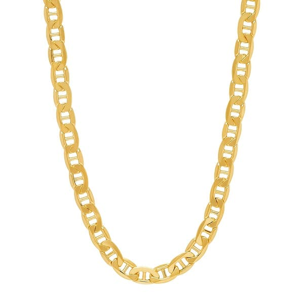 Shop Men S Italian Made Beveled Mariner Link Chain Necklace In 14k Gold 22 Yellow Overstock 31291483