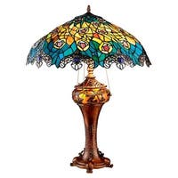 Design Toscano  Art Nouveau Peacock Tiffany Style Stained Glass Table Lamp