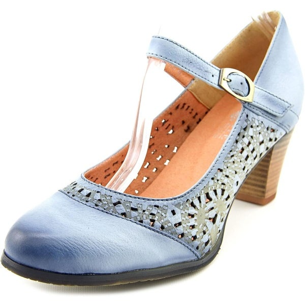 L'Artiste Efren Women  Round Toe Leather Blue Mary Janes
