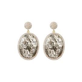 925 Sterling Silver Pave White Diamond Black Rutile Earring