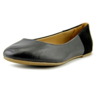 Tkees Raleigh Women Round Toe Leather Black Ballet Flats