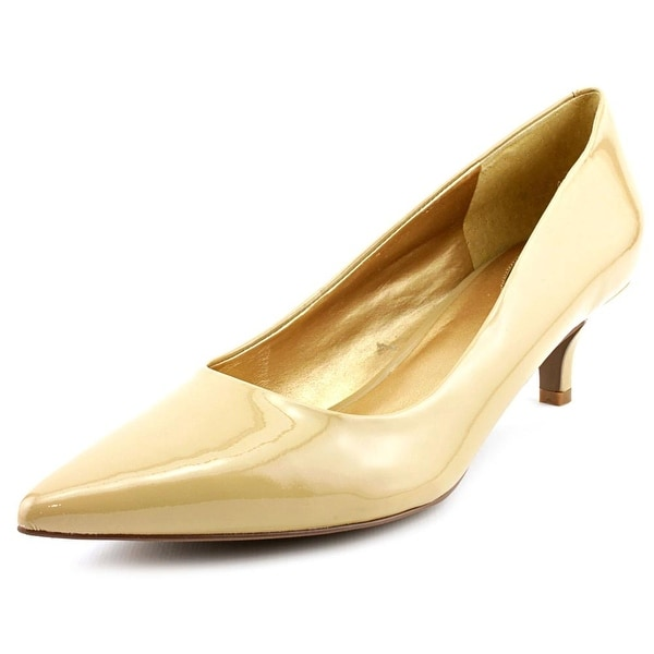 Trotters Paulina Women WW Pointed Toe Patent Leather Tan Heels