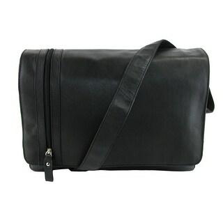 CTM® Men's Leather Slim Modern Style Messenger Briefcase - Black