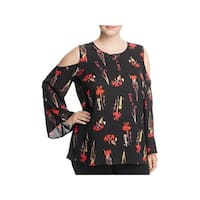 Vince Camuto Womens Plus Blouse Cold-Shoulder Floral Print