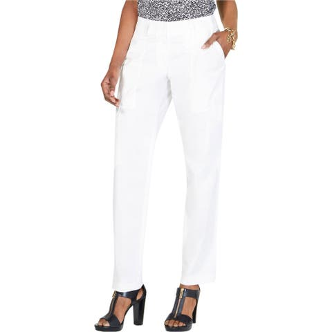 Michael Kors Womens Solid Casual Cargo Pants, white, 16