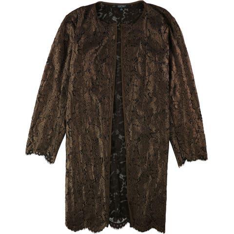 Ralph Lauren Womens Lace Jacket, Brown, XX-Large