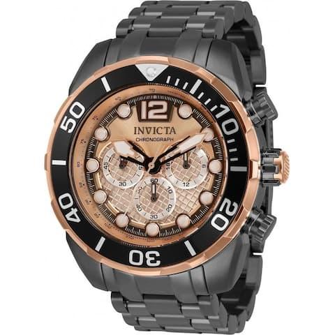 Invicta Men's 33830 'Pro Diver' Gunmetal Stainless Steel Watch - Black