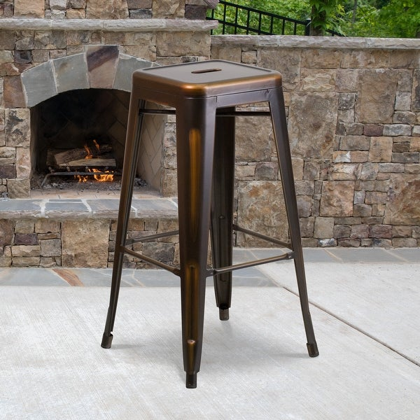 "30"" High Backless Distressed Metal Indoor-Outdoor Barstool - Patio Chair - 17""W x 17""D x 30""H. Opens flyout."