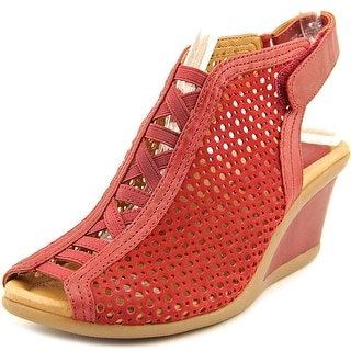Earth Calla Women Open Toe Leather Red Wedge Sandal