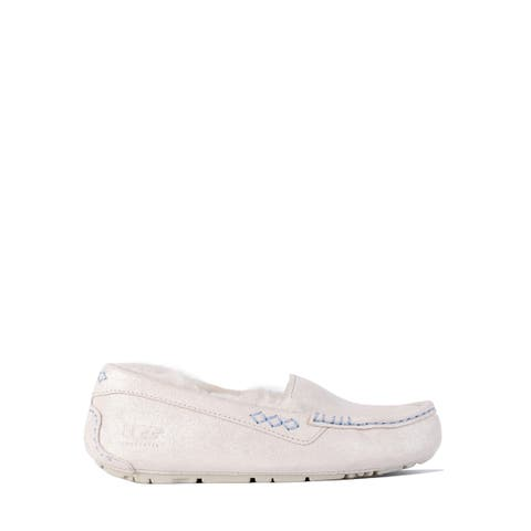 UGG Womens White Glitter Suede Ansely I Do Flat Moccasins Size US5~RTL$125