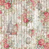 Stamperia Rice Paper Napkin 1/Pkg-Rose & Small Cage On Wood Background
