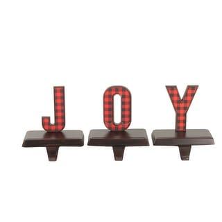 """Set of 3 Red and Black Buffalo Plaid JOY"""" Christmas Stocking Holder 6"""""""" """""""