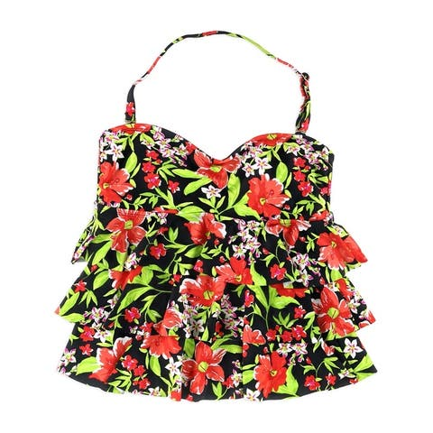 Island Escape Womens Tiered Floral Bandini Swim Top