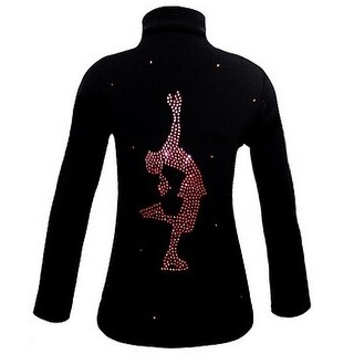 Ice Fire Skate Wear Black Jacket Pink Crystal Layback Girl 4-Women L