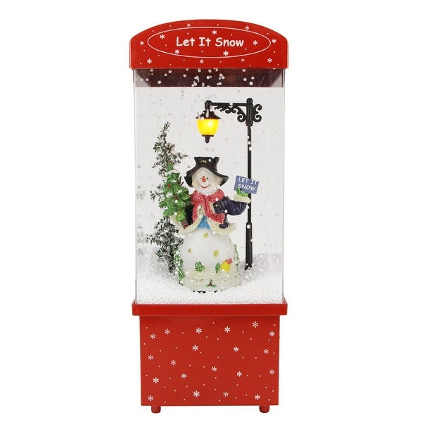 """16.25"""" Lighted Musical """"Let it Snow"""" Snowman Christmas Snow Globe Glitterdome"""