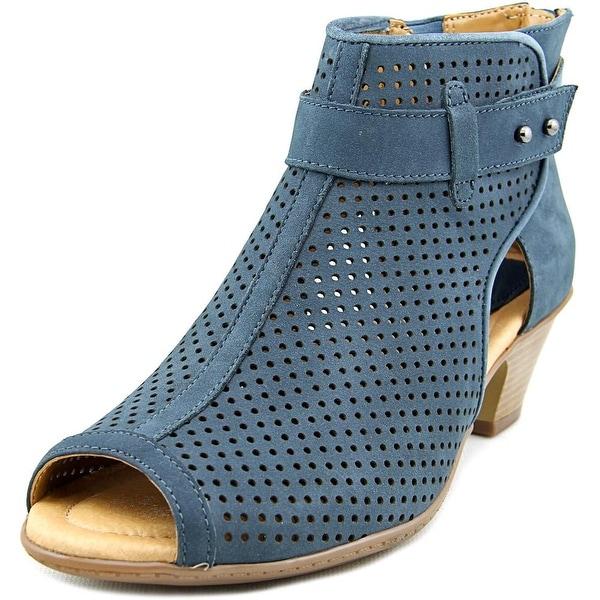 Earth Intrepid Women  Open-Toe Leather Blue Bootie
