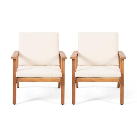 Temecula Outdoor Acacia Wood Club Chairs with Cushions (Set of 2) by Christopher Knight Home