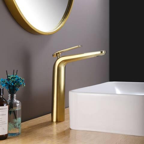 Brushed Gold Single Hole Vessel Bathroom Faucet