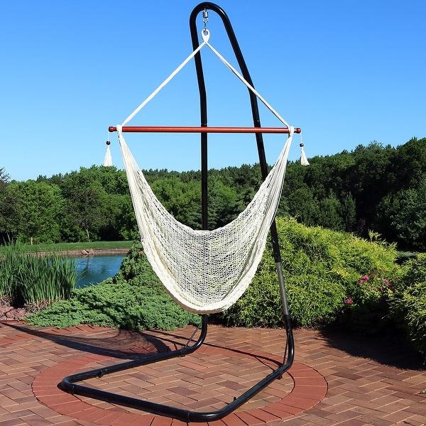 Sunnydaze Cabo Extra-Large Hanging Rope Hammock Chair - Adjustable Stand - Cream & Shop Sunnydaze Cabo Extra-Large Hanging Rope Hammock Chair ...
