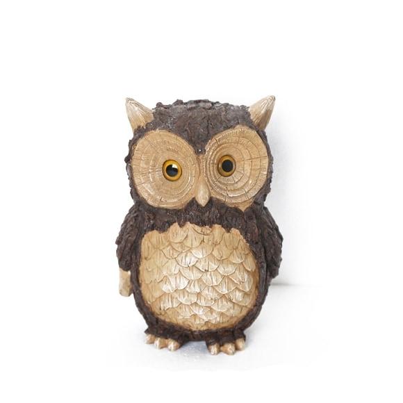 """10"""" Tree Bark Inspired Horned Owl Outdoor Patio Garden Statue"""