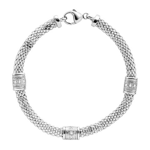 Silver Orchid Normand 1/10 ct Diamond Station Mesh Cage Bracelet in Sterling Silver