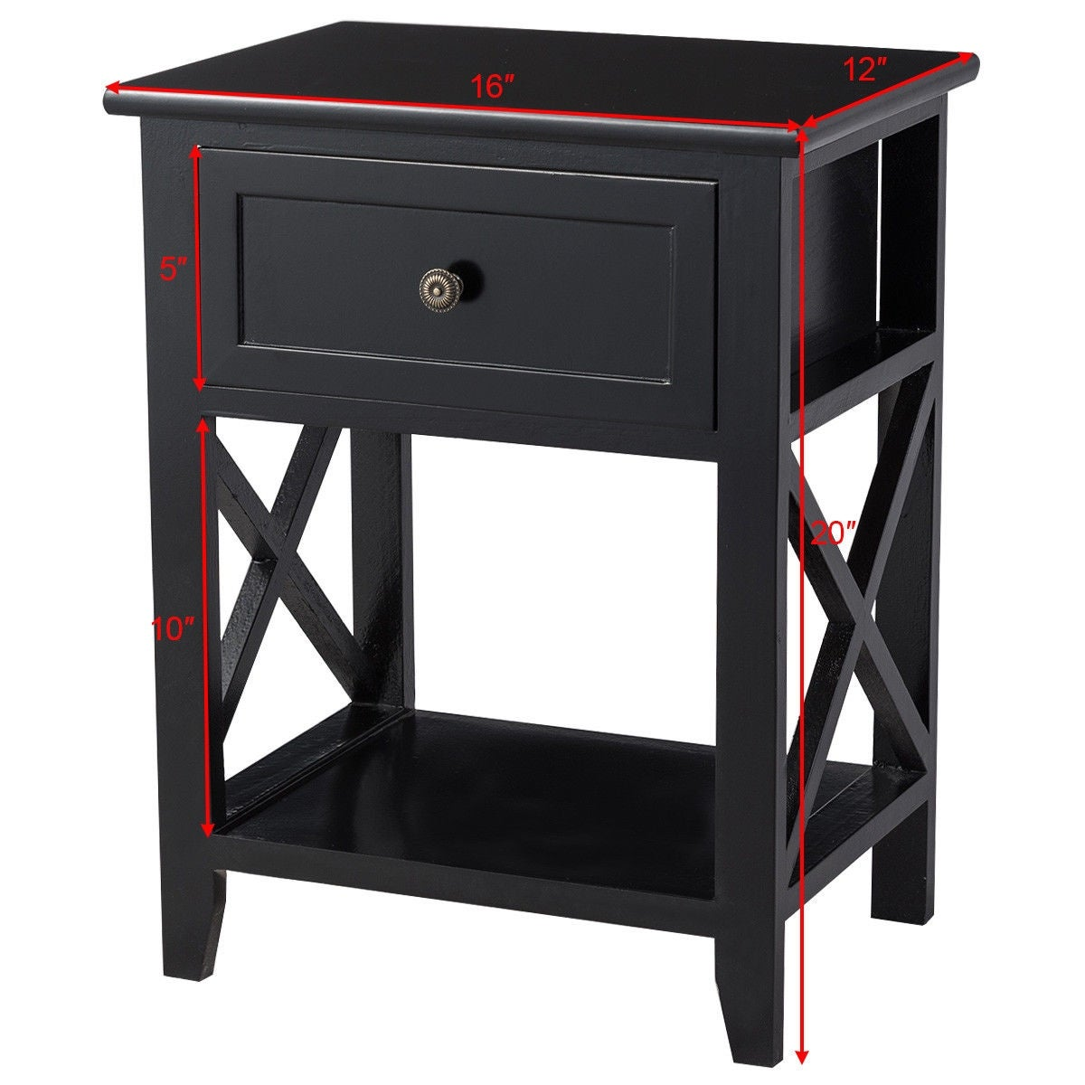more photos 08243 dc72f Costway End Bedside Table Nightstand Drawer Storage Room Decor W/Bottom  Shelf Black