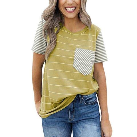 New Short Sleeve Striped Pocket Stitching T-Shirt