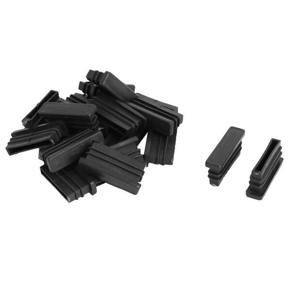 Household Plastic Rectangle Shaped Table Chair Legs Tube Insert Black 20 Pcs