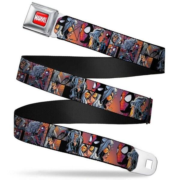 Marvel Universe Marvel Full Color Red White Spider Man & Black Cat Scene Seatbelt Belt