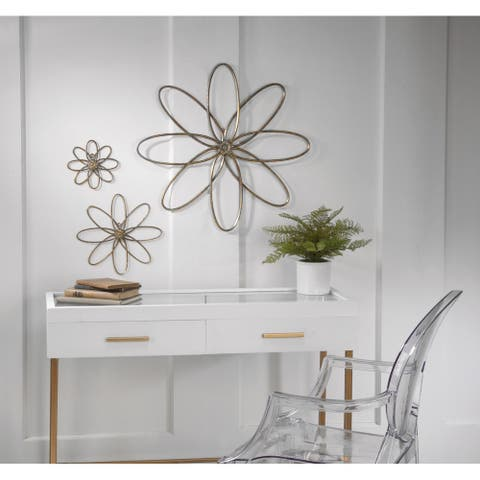 3 Piece Distressed Gold Metal Flower Wall Decor