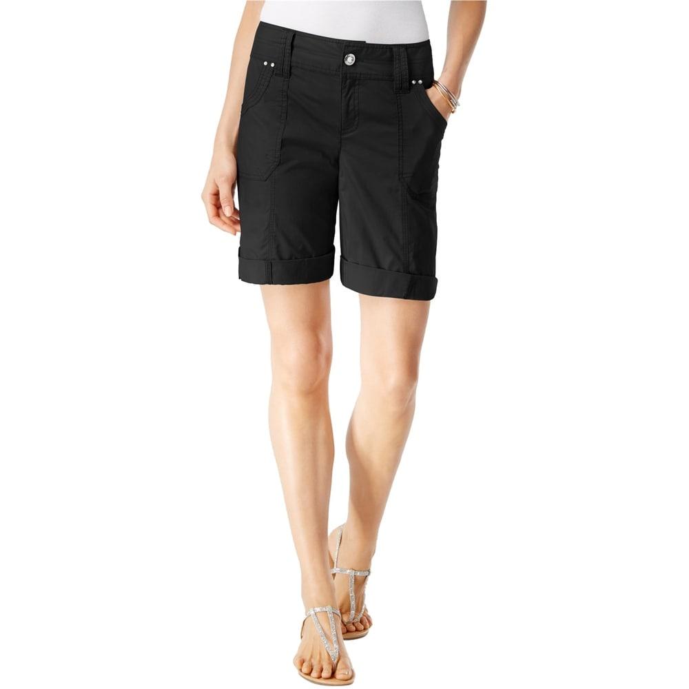 I-N-C Womens Utility Casual Bermuda Shorts black 4