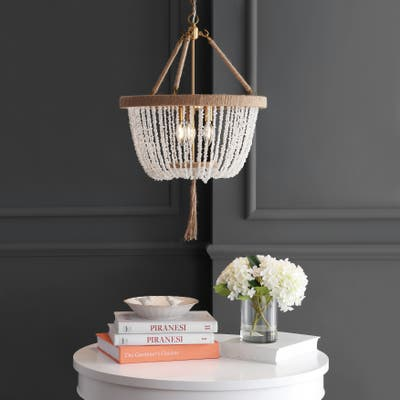 "SAFAVIEH Lighting Cydney Adjustable 3-light LED White Beaded Chandelier Pendant - 18.5""x18.5""x32-104"""