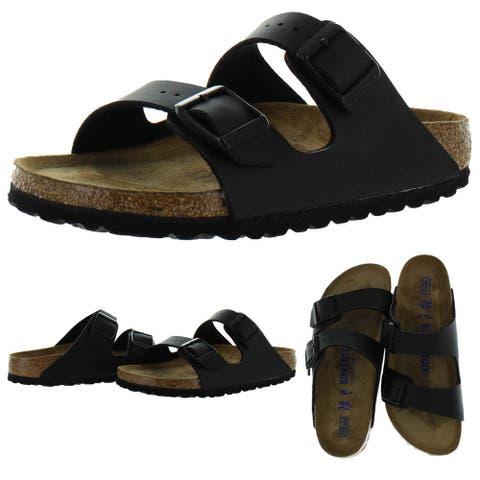 Birkenstock Women's Arizona Birko-Flor Soft Footbed Double Buckle Cork Sandals - Black Birko-Flor