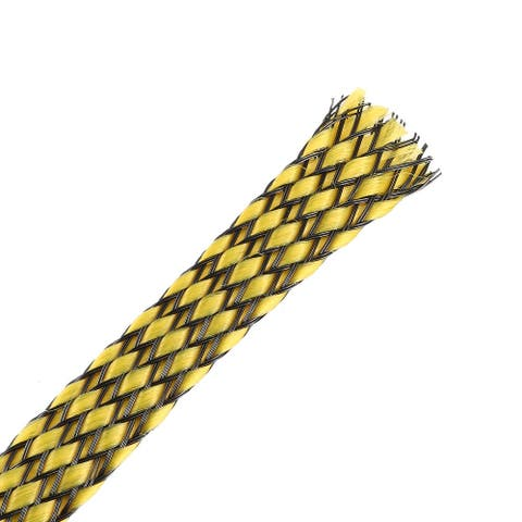 3ft - 3/8 inch PET Expandable Braided Sleeving -4PCS Braided Cable Sleeve Yellow