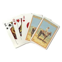 South Dakota - Cowboy (Side View) - LP Artwork (Poker Playing Cards Deck)