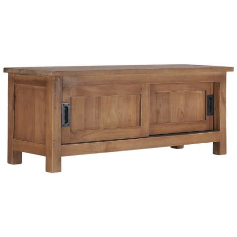 """vidaXL TV Cabinet 35.4""""x11.8""""x13.8"""" Solid Teak Wood"""