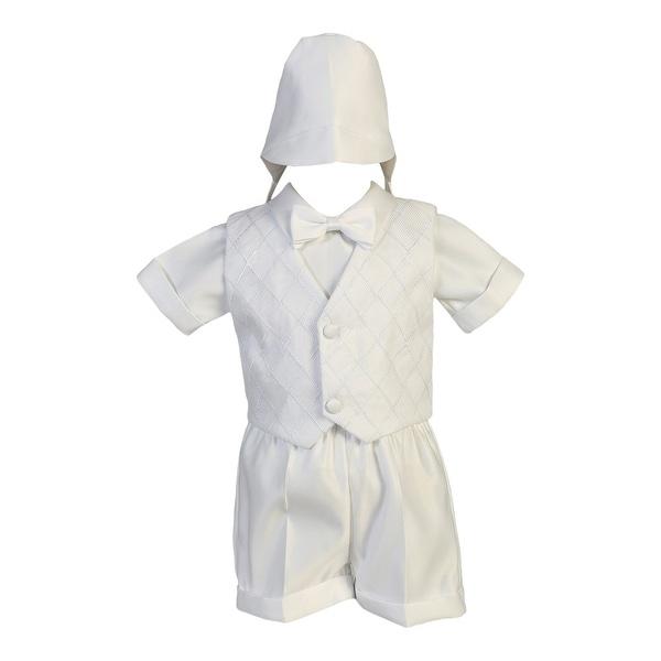 Baby Boys White Organza Vest Satin Shirt Shorts Christening Set - 18-24 months