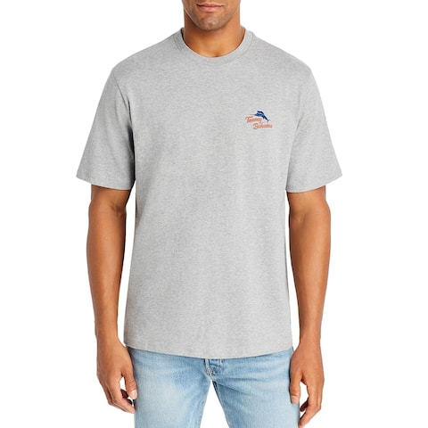 Tommy Bahama Mens T-Shirt Gray Small S Hook On A Feeling Graphic Tee