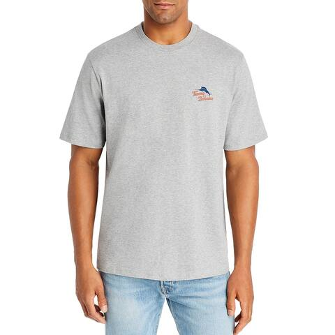 Tommy Bahama Mens T-Shirt Gray Small S Hooked On A Feeling Graphic Tee