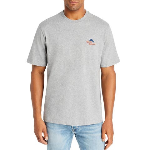Tommy Bahama Mens T-Shirt Heather Gray Size 2XL Graphic Pocket Tee