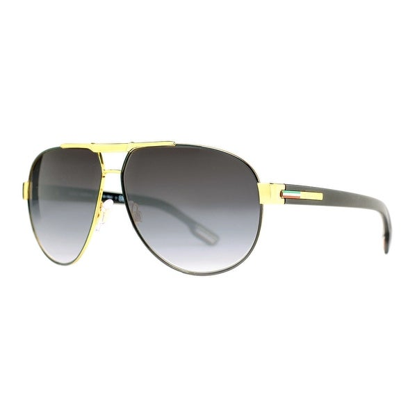 Dolce & Gabbana DG 2099 1081/8G Gold/Black Gray Gradient Aviator Sunglasses - 61mm-11mm-135mm