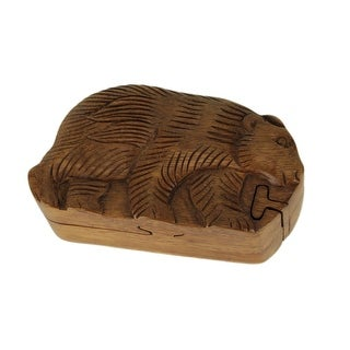 Hand Carved Wooden Walking Bear Trinket Puzzle Box - 2.25 X 6 X 3.25 inches